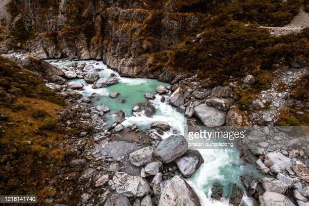 gorge in hooker valley track - uncultivated stock pictures, royalty-free photos & images