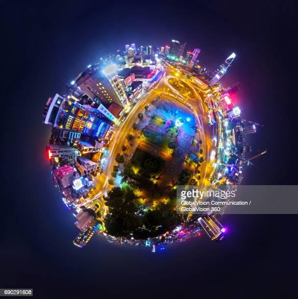 gorgeous 360° view of saigon by night - formato de pequeno planeta - fotografias e filmes do acervo