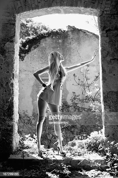 gorgeous blond girl posing - blonde long legs stock pictures, royalty-free photos & images
