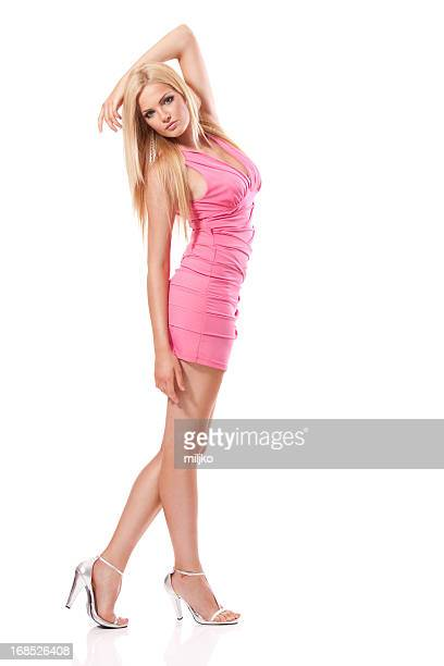 gorgeous blonde in pink dress - cut out dress stock pictures, royalty-free photos & images