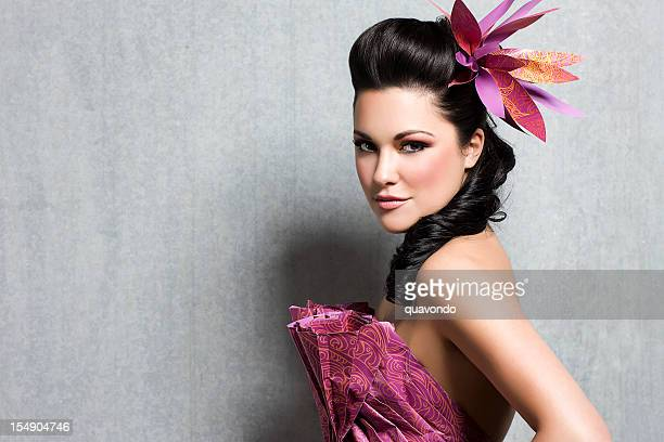Beautiful Woman in Floral Gown with Hairstyle and Makeup, Copyspace