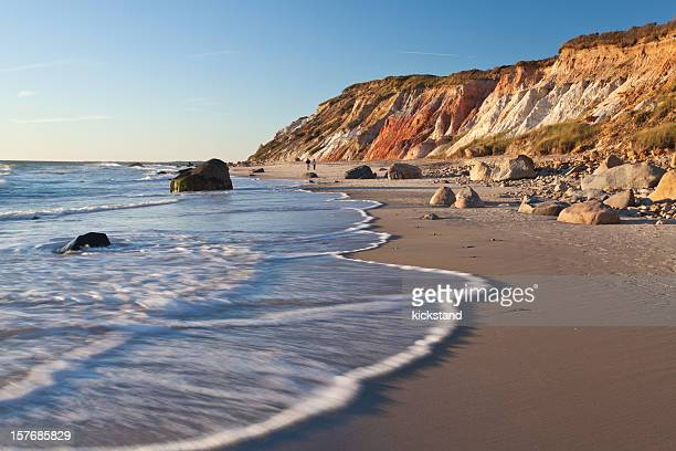 a gorgeous cliffs at gay head with the view of the beach - martha's_vineyard stock pictures, royalty-free photos & images
