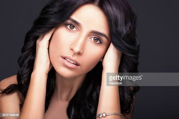 gorgeous dark haired young woman portrait