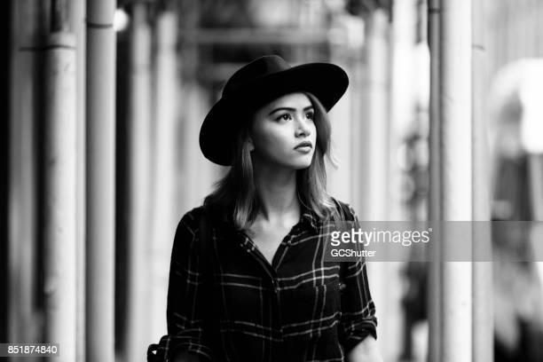 Gorgeous english woman walking through the streets