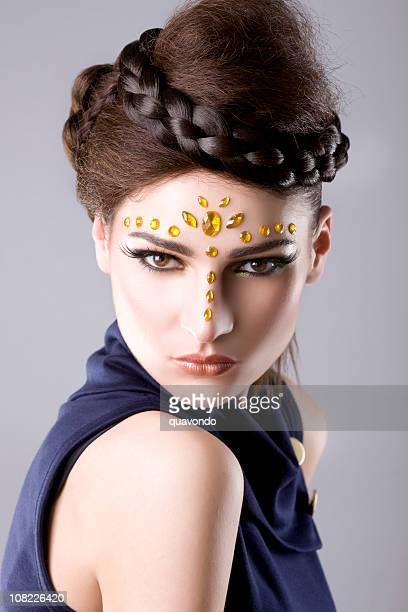 Beautiful Brunette European Young Woman Makeup and Hairstyle Model