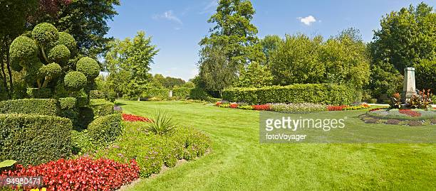 gorgeous garden green grass - wide angle stock pictures, royalty-free photos & images