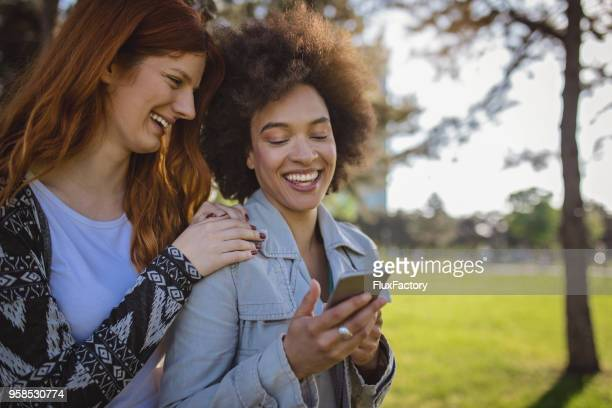 Gorgeous Girls Looking At The Phone In The Park