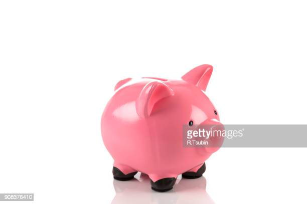 gorgeous pink piggy bank - piggy bank stock photos and pictures