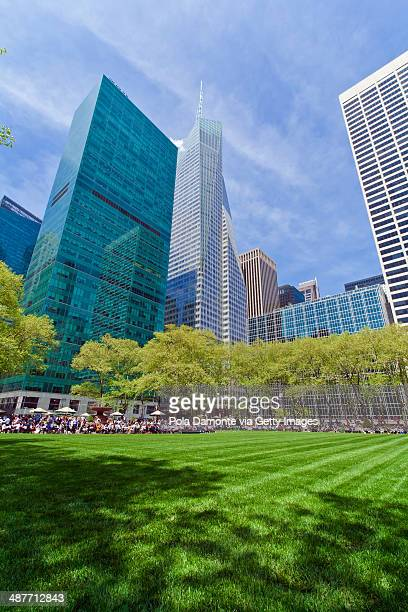gorgeous skyscrapers at bryant park, new york city - bryant park stock pictures, royalty-free photos & images