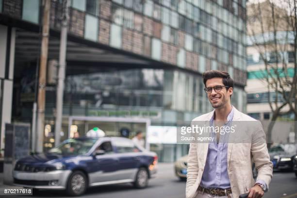 Gorgeous smiling businessman