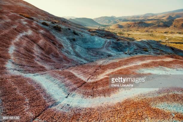 Gorgeous striped rainbow hills in Azerbaijan.