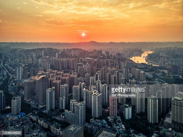 gorgeous sunset view in chongqing, china - chongqing stock photos and pictures