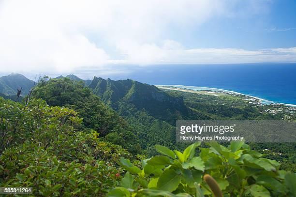 gorgeous view from tropical mountain top - rarotonga foto e immagini stock