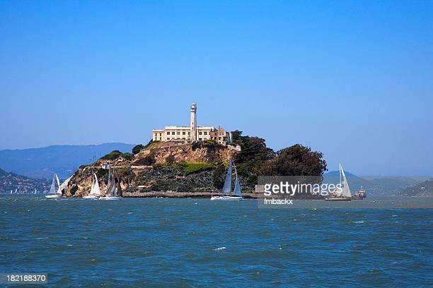 a gorgeous view of the ocean around alcatraz island - alcatraz stock photos and pictures