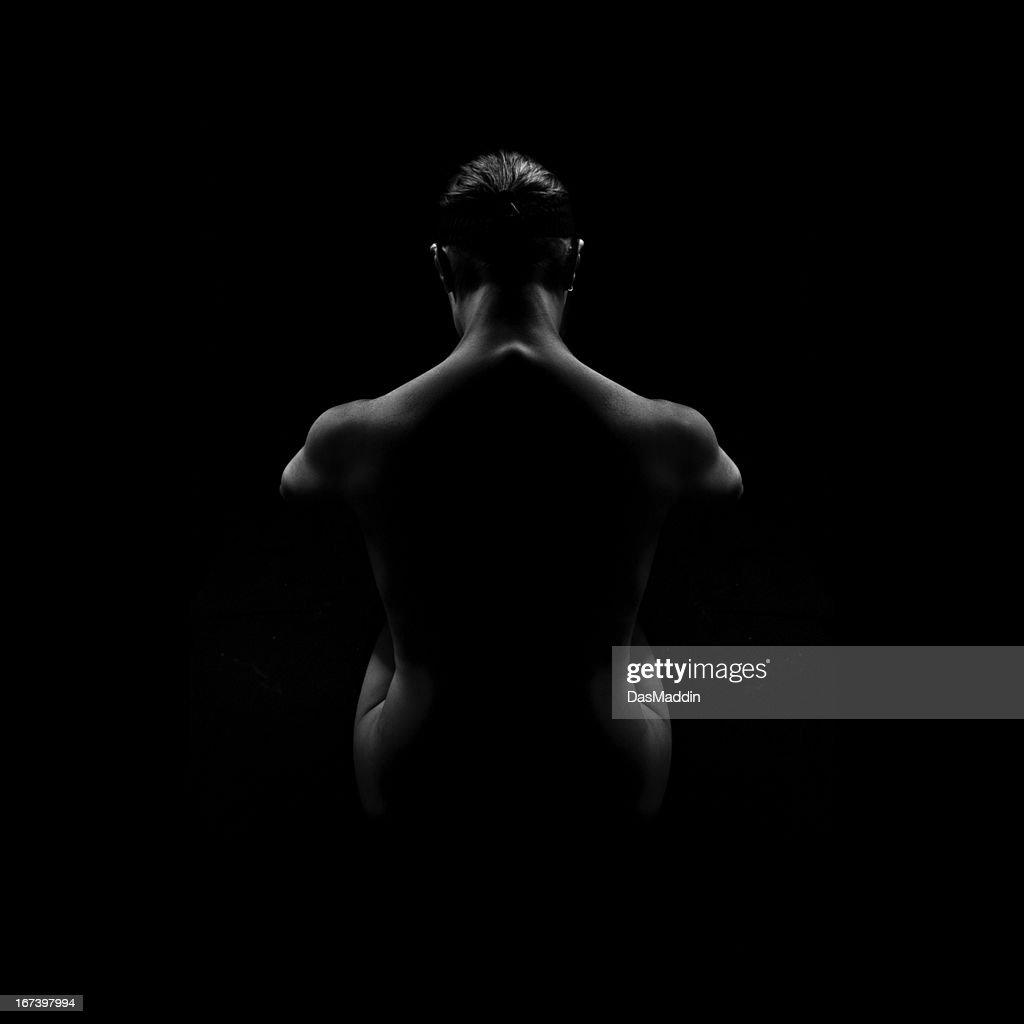 Wunderschöne Frau von hinten-schwarz und weiß : Stock-Foto