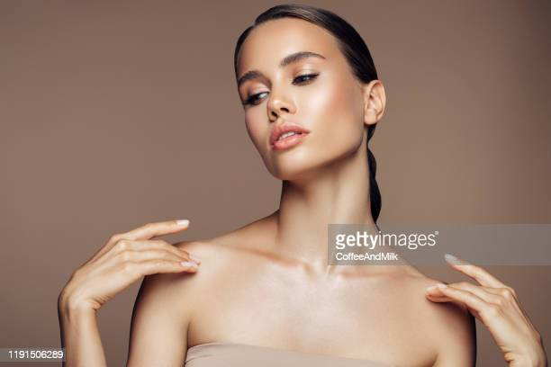 gorgeous woman posing on camera - botox stock pictures, royalty-free photos & images