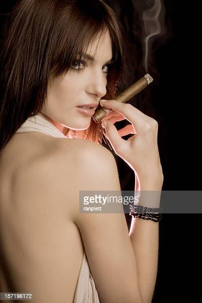 Gorgeous Woman with the Cigar and Smoke