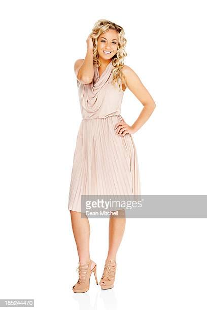 gorgeous young woman posing on white background - cut out dress stock pictures, royalty-free photos & images