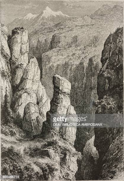 Gorges in the mountain range of Taygetos Greece illustration from Histoire des grecs volume 1 Formation du peuple grec by Victor Duruy
