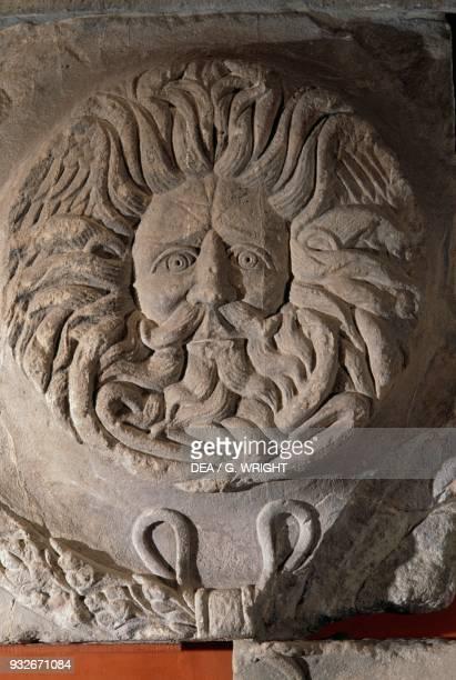 Gorgon's Head, relief from the pediment of the temple of Sulis Minerva, Bath , Somerset, England, United Kingdom. Roman civilisation, 1st century AD....