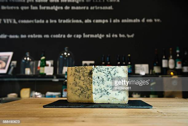 Gorgonzola cheese on a cheese counter
