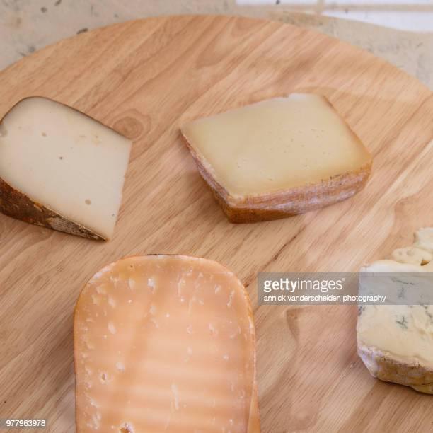 gorgonzola, gouda cheese, tomme de chèvre and pecorino romano. - crosta di formaggio foto e immagini stock