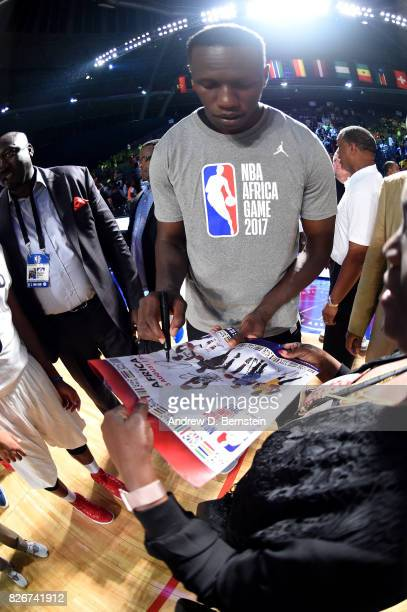 Gorgui Dieng of Team Africa signs autographs after the game against Team World in the 2017 Africa Game as part of the Basketball Without Borders...