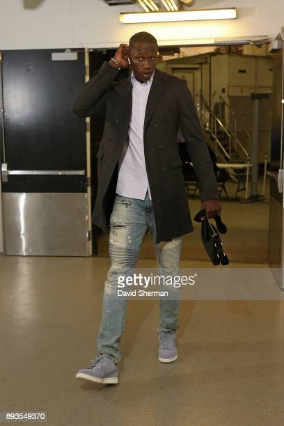Gorgui Dieng of the Minnesota Timberwolves arrives at the stadium before the game against the Sacramento Kings on December 14 2017 at Target Center...