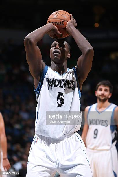 Gorgui Dieng of the Minnesota Timberwolves attempts a free throw against the Phoenix Suns on February 20 2015 at Target Center in Minneapolis...