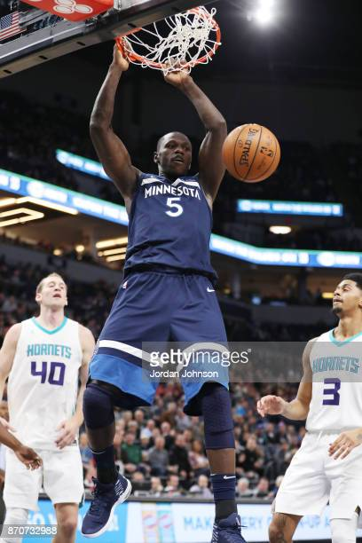 Gorgui Dieng of the Minnesota Timberwolves dunks against the Charlotte Hornets on November 5 2017 at Target Center in Minneapolis Minnesota NOTE TO...