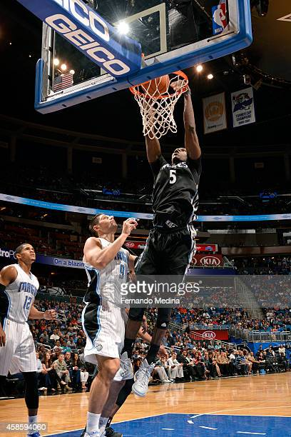 Gorgui Dieng of the Minnesota Timberwolves dunks against the Orlando Magic on November 7 2014 at Amway Center in Orlando Florida NOTE TO USER User...
