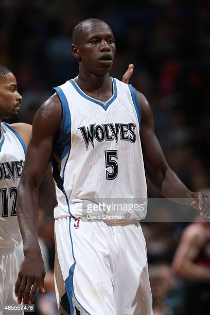 Gorgui Dieng of the Minnesota Timberwolves during the game against the Portland Trail Blazers on March 7 2015 at Target Center in Minneapolis...