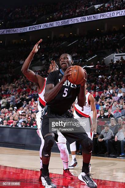 Gorgui Dieng of the Minnesota Timberwolves handles the ball against the Portland Trail Blazers on January 31 2016 at the Moda Center in Portland...