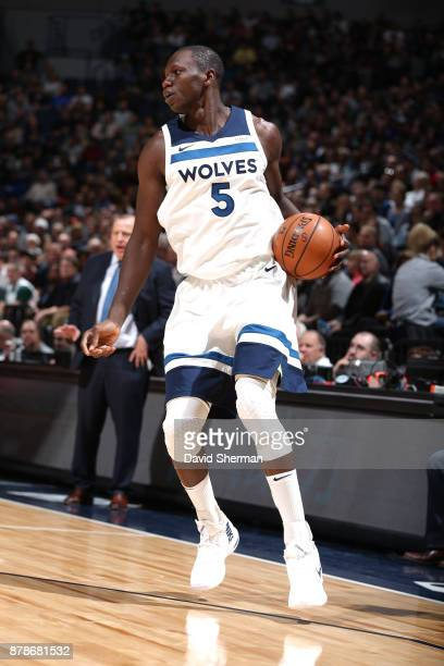 Gorgui Dieng of the Minnesota Timberwolves handles the ball against the Miami Heat on November 24 2017 at Target Center in Minneapolis Minnesota NOTE...