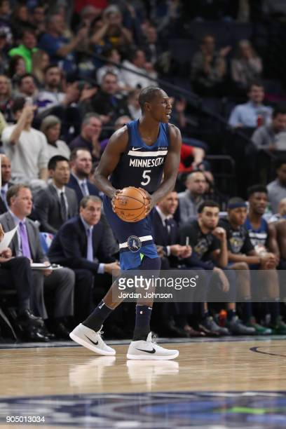 Gorgui Dieng of the Minnesota Timberwolves handles the ball against the Portland Trail Blazers on January 14 2018 at Target Center in Minneapolis...