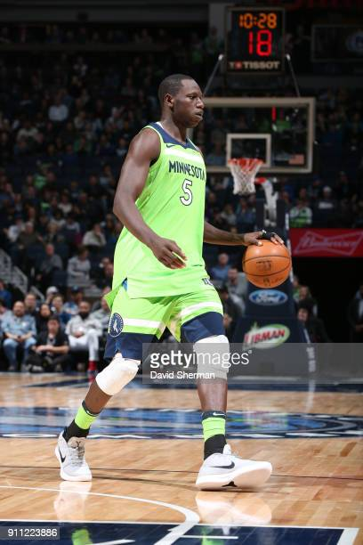 Gorgui Dieng of the Minnesota Timberwolves handles the ball against the Brooklyn Nets on January 27 2018 at Target Center in Minneapolis Minnesota...