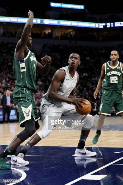 Gorgui Dieng of the Minnesota Timberwolves handles the ball against the Milwaukee Bucks on February 1 2018 at Target Center in Minneapolis Minnesota...