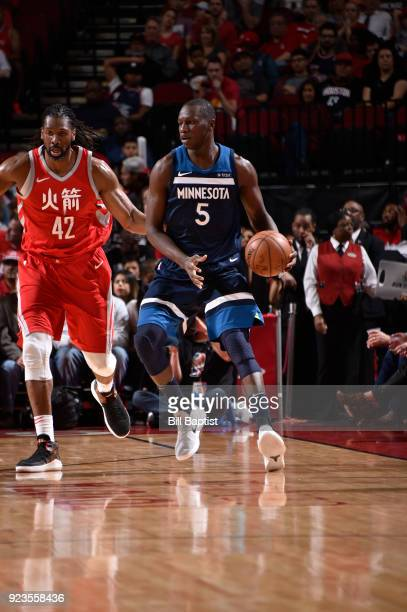 Gorgui Dieng of the Minnesota Timberwolves handles the ball against the Houston Rockets on February 23 2018 at the Toyota Center in Houston Texas...