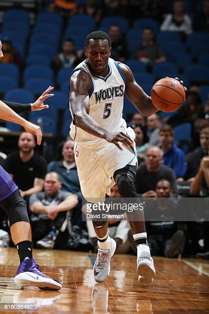 Gorgui Dieng of the Minnesota Timberwolves handles the ball during a preseason game against the Charlotte Hornets on October 21 2016 at the Target...