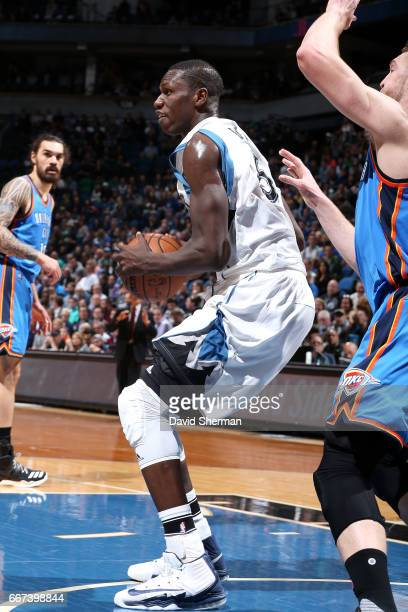 Gorgui Dieng of the Minnesota Timberwolves handles the ball during the game against the Oklahoma City Thunder on April 11 2017 at Target Center in...