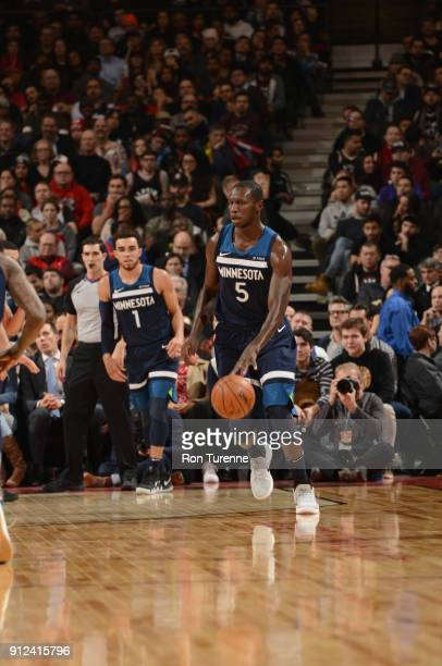 Gorgui Dieng of the Minnesota Timberwolves handles the ball during the game against the Toronto Raptors on January 30 2018 at the Air Canada Centre...