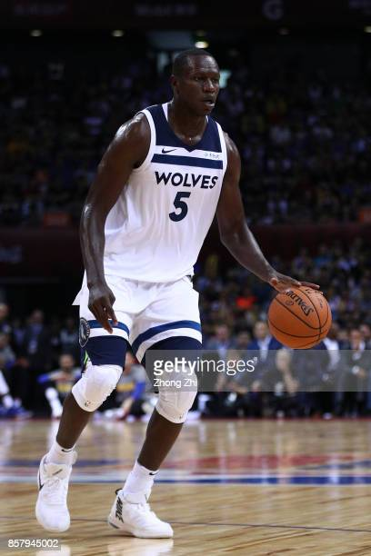 Gorgui Dieng of the Minnesota Timberwolves in action during the game between the Minnesota Timberwolves and the Golden State Warriors as part of 2017...