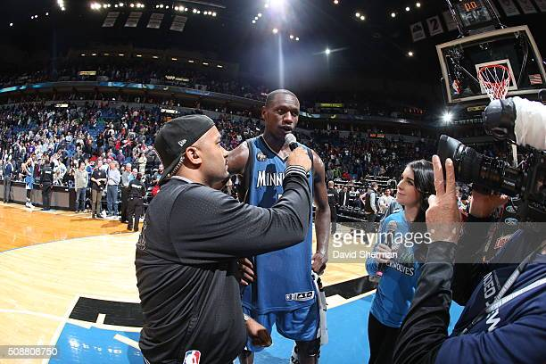 Gorgui Dieng of the Minnesota Timberwolves is interviewed after the game against the Chicago Bulls on February 6 2016 at Target Center in Minneapolis...
