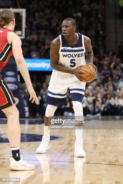 Gorgui Dieng of the Minnesota Timberwolves looks to pass the ball against the Miami Heat on November 24 2017 at Target Center in Minneapolis...