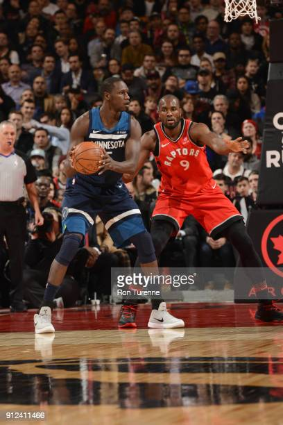Gorgui Dieng of the Minnesota Timberwolves passes the ball during the game against the Toronto Raptors on January 30 2018 at the Air Canada Centre in...