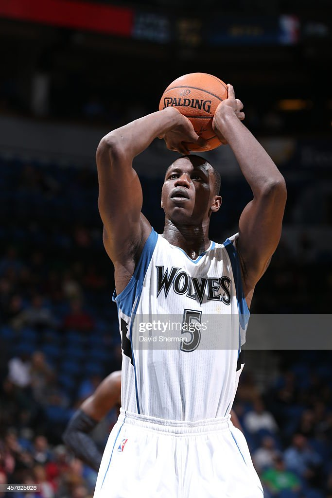 Gorgui Dieng #5 of the Minnesota Timberwolves prepares to shoot a free throw against the Indiana Pacers on October 21, 2014 at Target Center in Minneapolis, Minnesota.