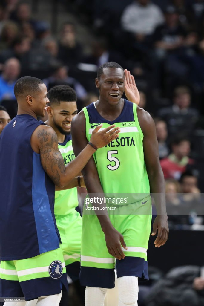 Gorgui Dieng #5 of the Minnesota Timberwolves react during game against the New Orleans Pelicans on January 6, 2018 at Target Center in Minneapolis, Minnesota.