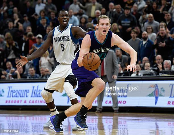 Gorgui Dieng of the Minnesota Timberwolves reacts as Cody Zeller of the Charlotte Hornets takes control of the ball during the fourth quarter of the...