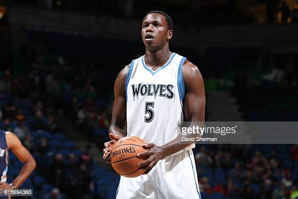 Gorgui Dieng of the Minnesota Timberwolves shoots a free throw during a preseason game against the Memphis Grizzlies on October 19 2016 at Target...