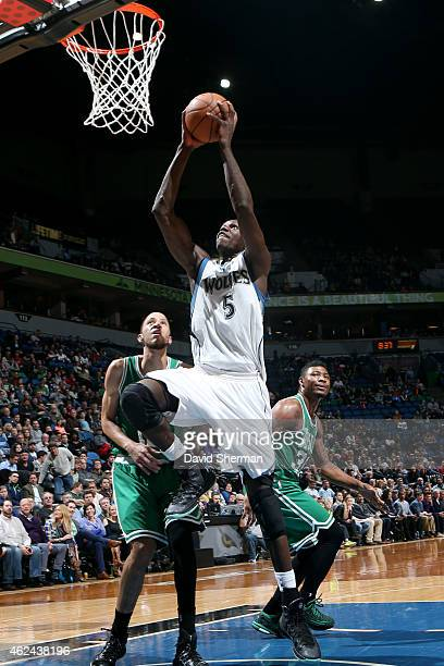 Gorgui Dieng of the Minnesota Timberwolves shoots against the Boston Celtics on January 28 2015 at Target Center in Minneapolis Minnesota NOTE TO...